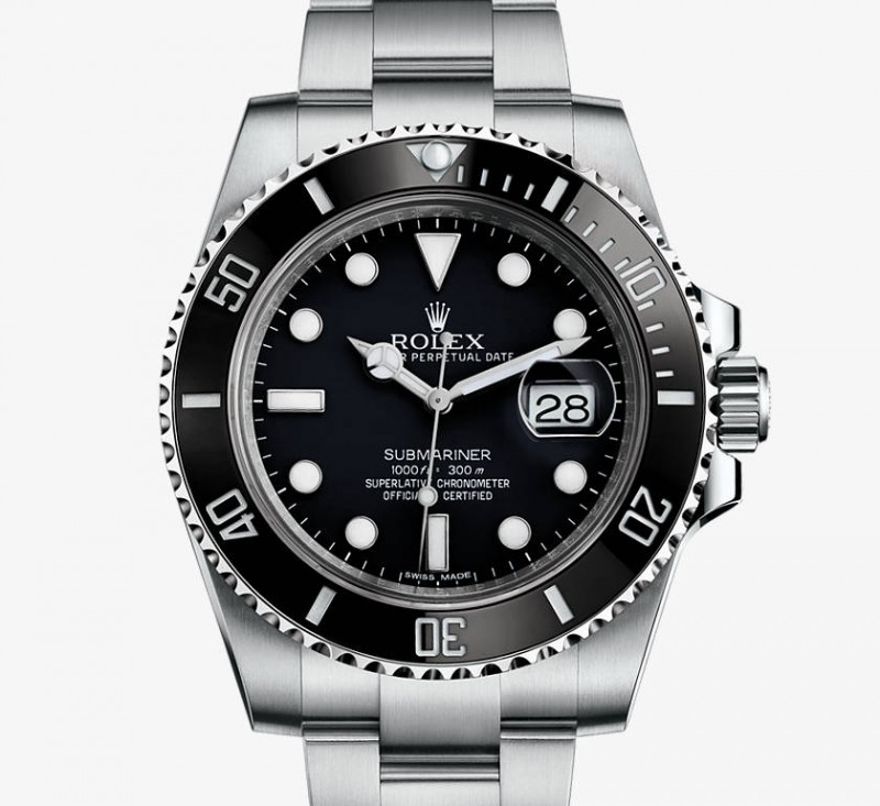 The latest Rolex Submariner, a true sports watch for the 21st century, with ceramc rotating bezel resistant to scratches and Glidelock bucke for easy adjustment