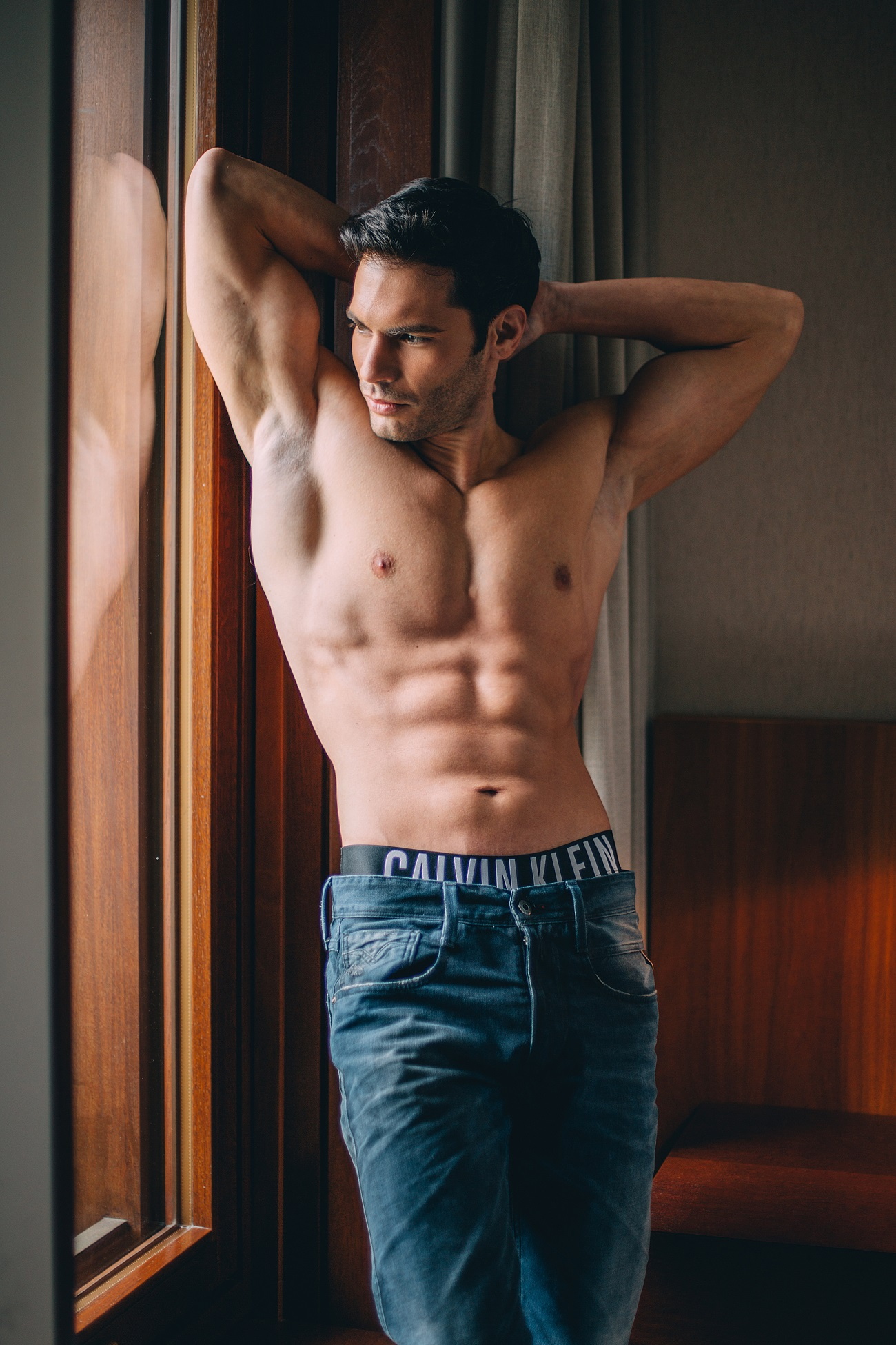 "Vukota Brajovic in editorial ""In my Calvins"". Photographers: Marko Arsic and Dijana Tolicki."
