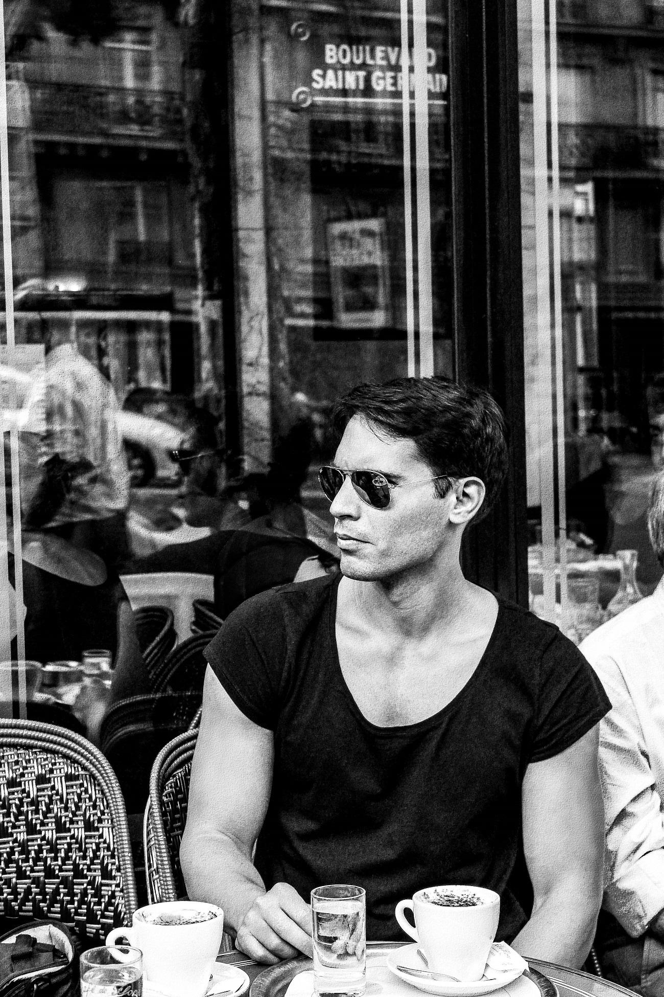 Vukota Brajovic at Café de Flore in Paris. Style  by Vukota